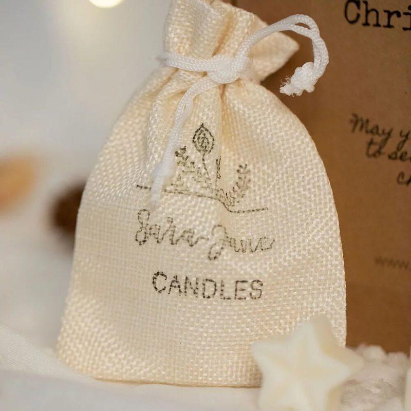 Sara-jane Candles Hessian bag